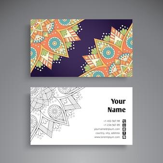 Colorful mandala vintage business card
