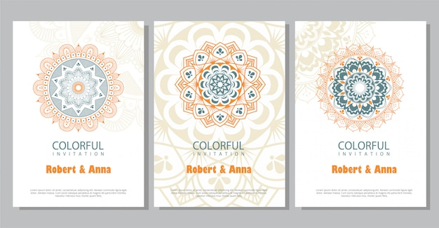 Colorful mandala wedding invitation template.