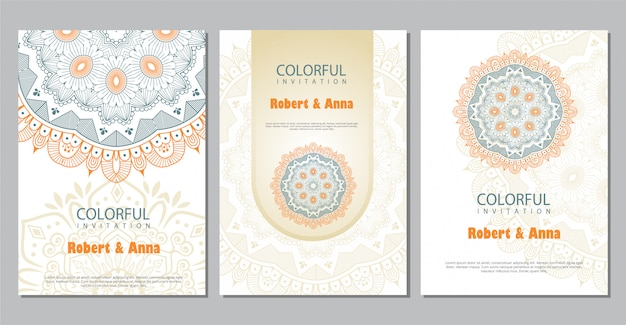 Colorful mandala wedding invitation template. Premium Vector