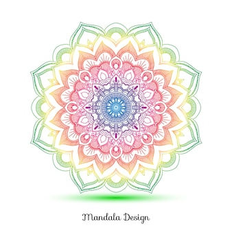 Colorful mandala on a white background Free Vector