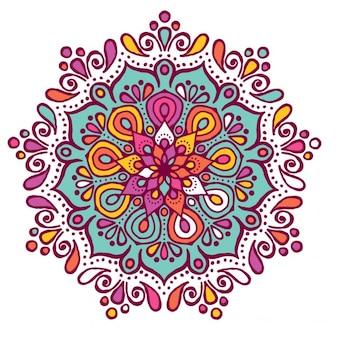 花の形とカラフルな曼荼羅