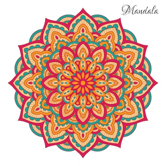 Colorful mandala with floral shapes.