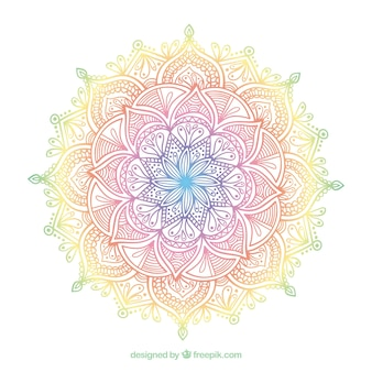 Colorful mandala with ornaments
