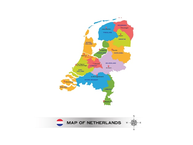 Colorful map of netherlands on white background.