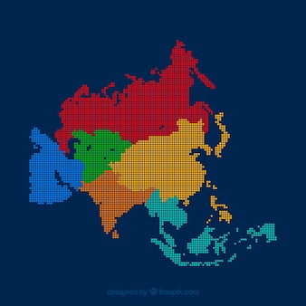 Colorful map of asia