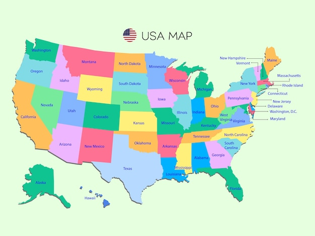 Colorful map of usa on green background.