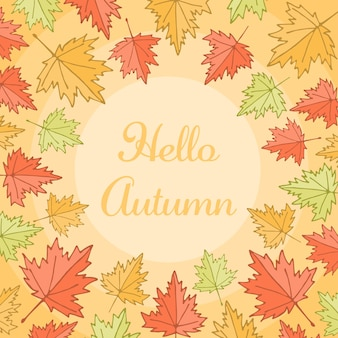 Colorful maple leaves autumn border background