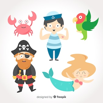 Colorful marine life character collection