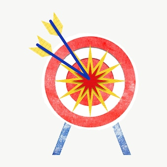 Grafica colorata mirata al mercato con freccette e frecce