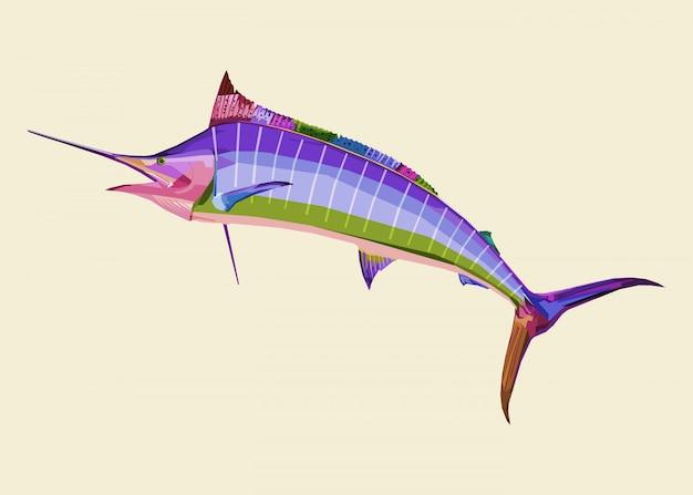 ポップアートのカラフルなカジキ魚