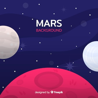 Colorful mars background with flat design