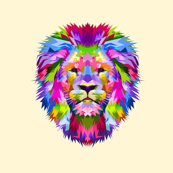 Colorful mascot head lion