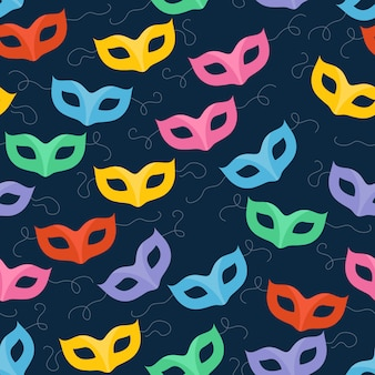 Colorful masquerade carnival masks pattern.