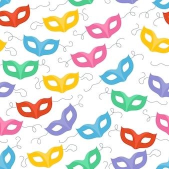 Красочные маскарадные карнавальные маски бесшовные модели. партийный фон.