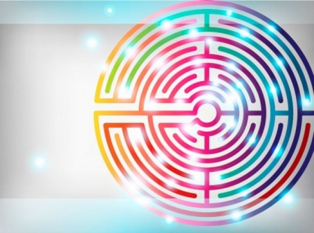 Colorful maze background vector set