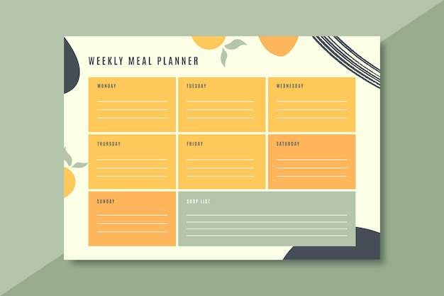 Colorful meal planner template