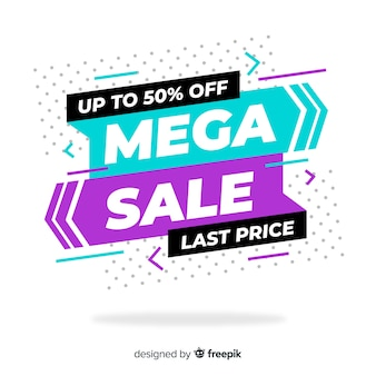 Colorful mega sale banners concept
