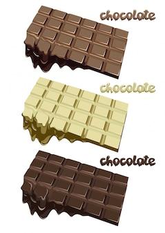 カラフルな溶かしたチョコレートブロックセット