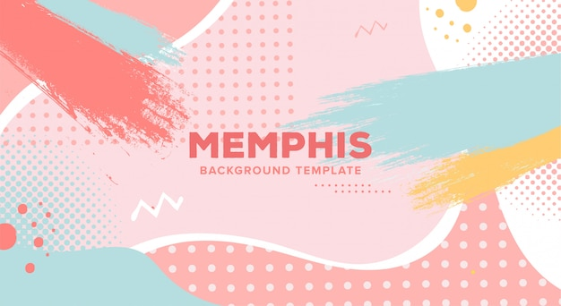 Colorful memphis background template