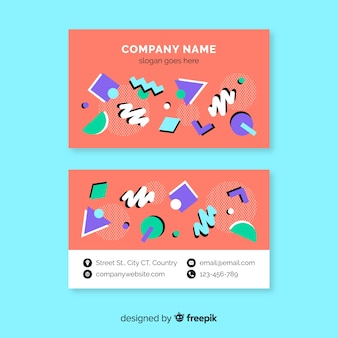 Colorful memphis business card