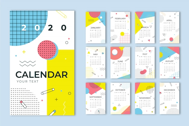 Colorful memphis calendar template.