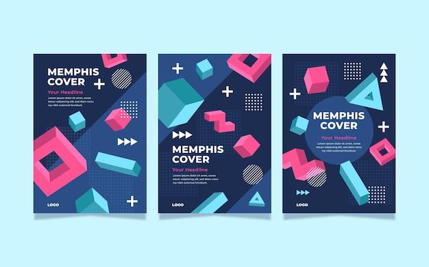 Colorful memphis cover set