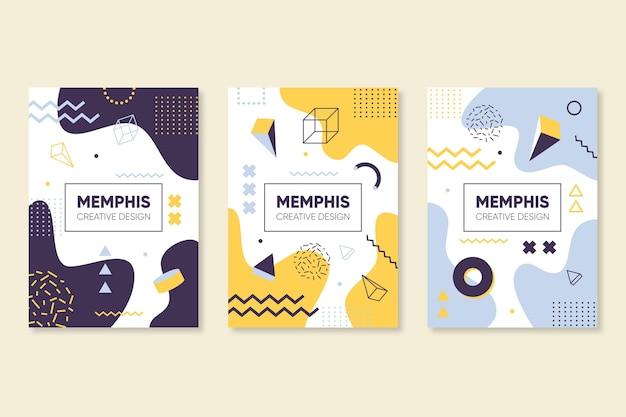 Colorful memphis design cover set