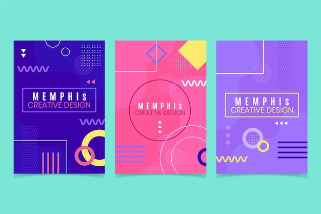 Colorful memphis design cover set