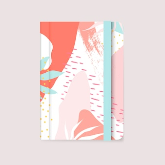 Colorful Memphis design notebook cover vector