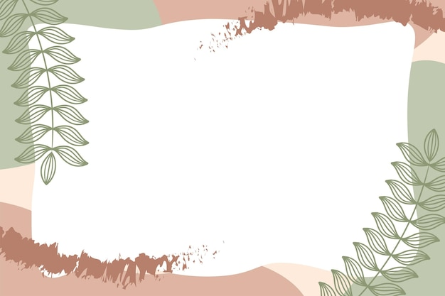 Colorful memphis modern abstract shapes green brown pastel with leaf backgrounds vector