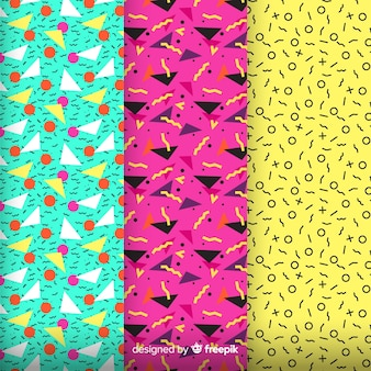 Colorful memphis pattern assemble