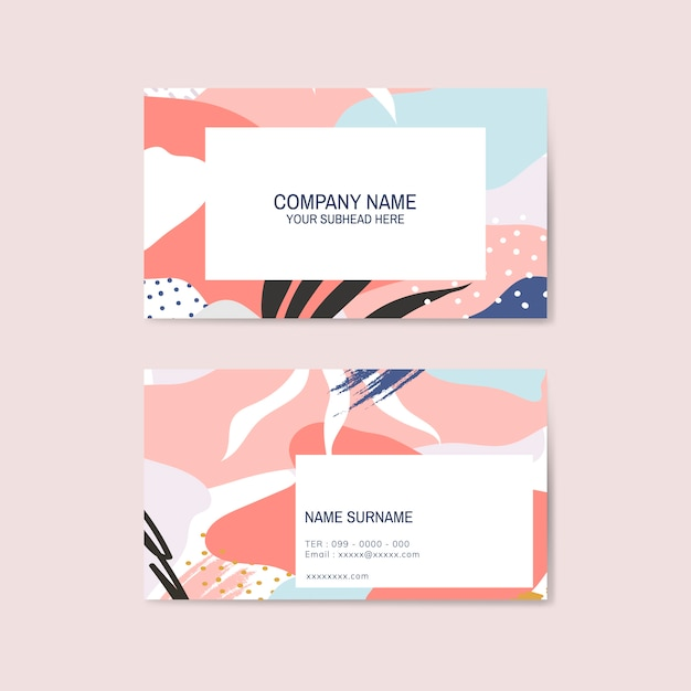 Colorful memphis pattern business card vector