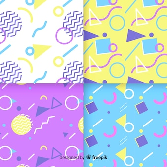 Colorful memphis pattern collection