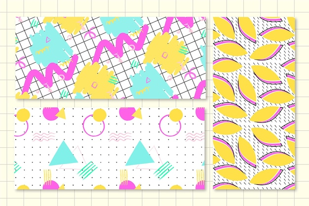 Colorful memphis pattern pack