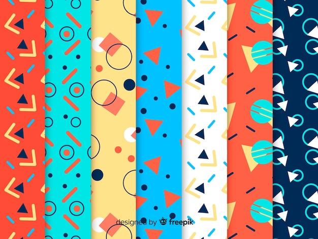 Colorful memphis pattern set