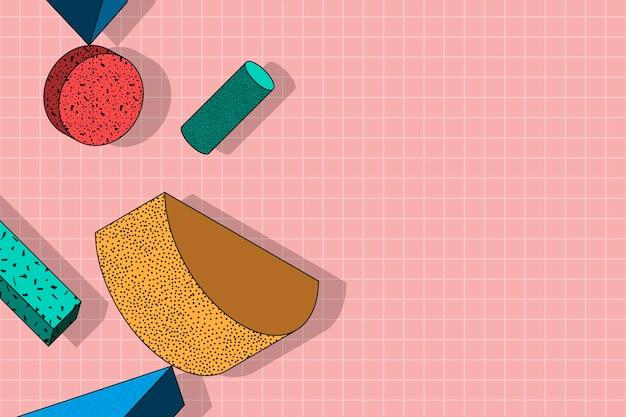 ピンクのグリッドの背景にパターン化されたカラフルなメンフィス