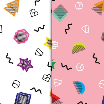 Colorful memphis retro 70s 80s and 90s pattern collection free vector
