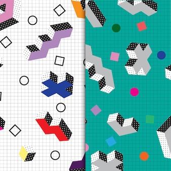 Красочная коллекция паттернов мемфиса в стиле ретро 70-х 80-х и 90-х годов бесплатные векторы