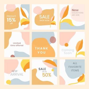 Colorful memphis sale template set