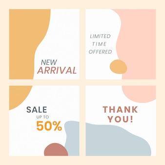Set di modelli di vendita colorati di memphis