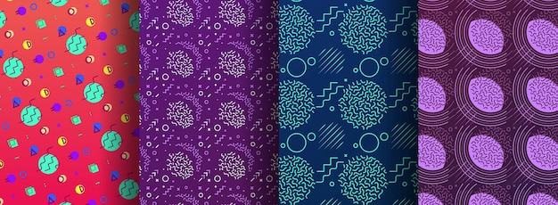 Colorful memphis seamless patterns available in swatches panel