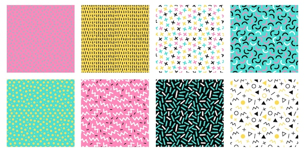 Красочные бесшовные модели мемфиса. модная мозаичная текстура 80-х, цветные ретро-текстуры и геометрические линии и точки