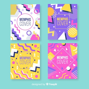 Colorful memphis style brochure set