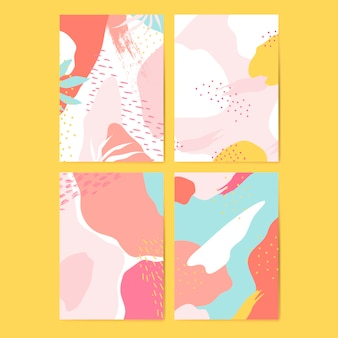 Colorful Memphis style cards vector set