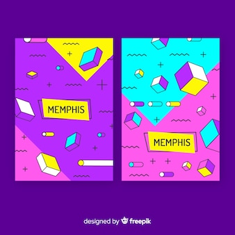 Collezione di copertine colorate in stile memphis