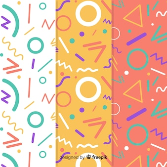 Colorful memphis style pattern collection
