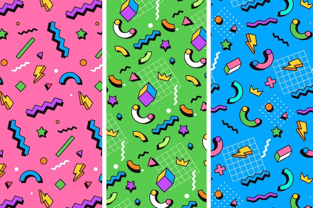 Colorful memphis style patterns illustration