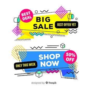 Colorful memphis style sale banner set