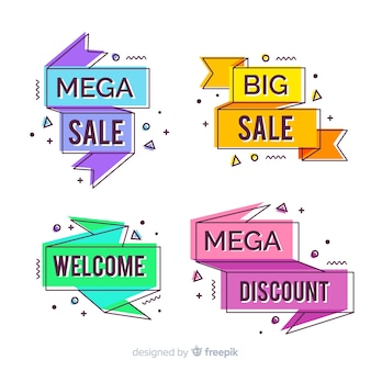 Colorful memphis style sale banner set