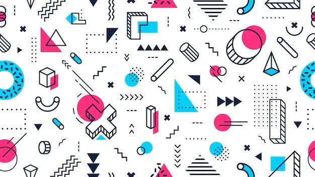 カラフルなメンフィススタイルのシームレスなパターン。抽象的な幾何学的図形、ファンキーなモダンなデザイン、80年代のメンフィススタイルのベクトルの背景